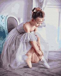 """Картина по номерам """"Маленькая балерина"""" Сложность: 4 (ребенок, девочка, малыши, дети, с детьми, балерина)"""