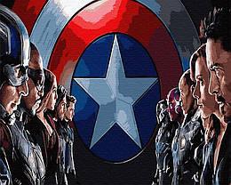 """Картина по номерам """"Команда в сборе"""" Сложность: 3 (марвел, супергерои, Железный Человек, Капитан Америка)"""