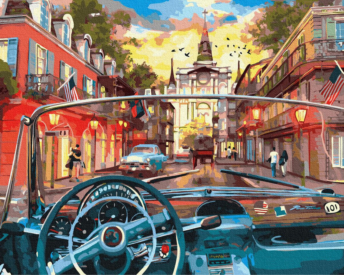 """Картина по номерам """"За кермом"""" Сложность: 3 (автомобиль, авто, транспорт, за рулем, городской пейзаж, город, улица, сложная)"""