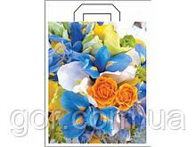 """Пакет з петлевий ручкою (34*41+3) """"Квіти"""" ХВГ (25 шт)"""