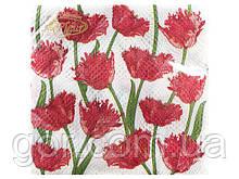 Гарна серветка (ЗЗхЗЗ, 20шт) La Fleur Кучеряві тюльпани (023) (1 пач.)
