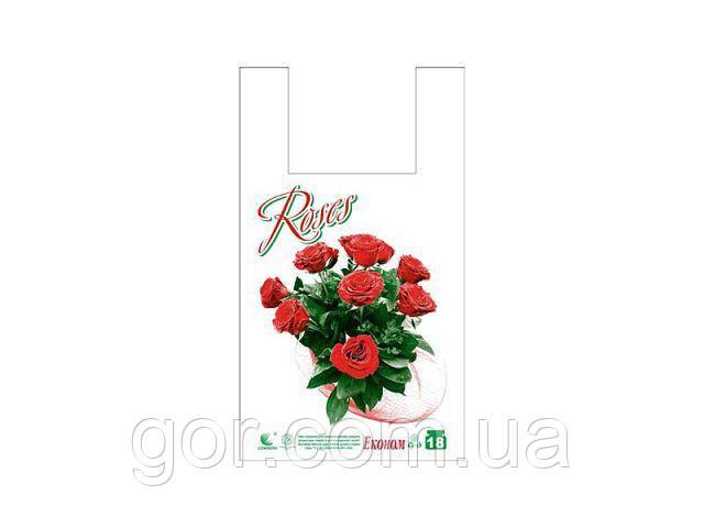 """Пакет Майка п\э (28*49) """"Эко Роза"""" (250 шт) кулек полиэтиленовый цветной с рисунком с ручками"""