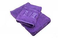 Набор махровых полотенец Zeron Бамбук 50х90 см, 70х140 см Темно-фиолетовый 1005658, КОД: 1659554