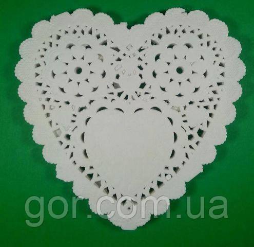 Салфетка ажурная СЕРДЦЕ Ф12,5(100шт) (1 пач) для декора бумажная кружевная белая сервировочная