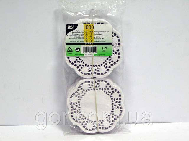 Салфетка ажурная Ф09 (100шт) (1 пач) для декора бумажная кружевная белая сервировочная круглая