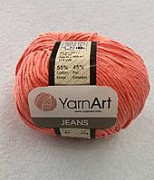 Пряжа Jeans 50гр - 160м (61 Коралловый) YarnArt 55 % хлопок, 45 % полиакрил, Турция