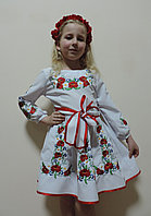 Нарядное вышитое детское платье с поясом, красивое платье с вышивкой на девочку, р.116, 122, 128, 134.