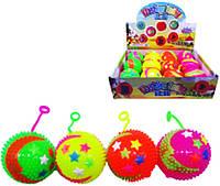 """Іграшка антистрес 705-3 """"М'яч стрибунець, Зірки, світяться неонові 7,5 см уп12"""