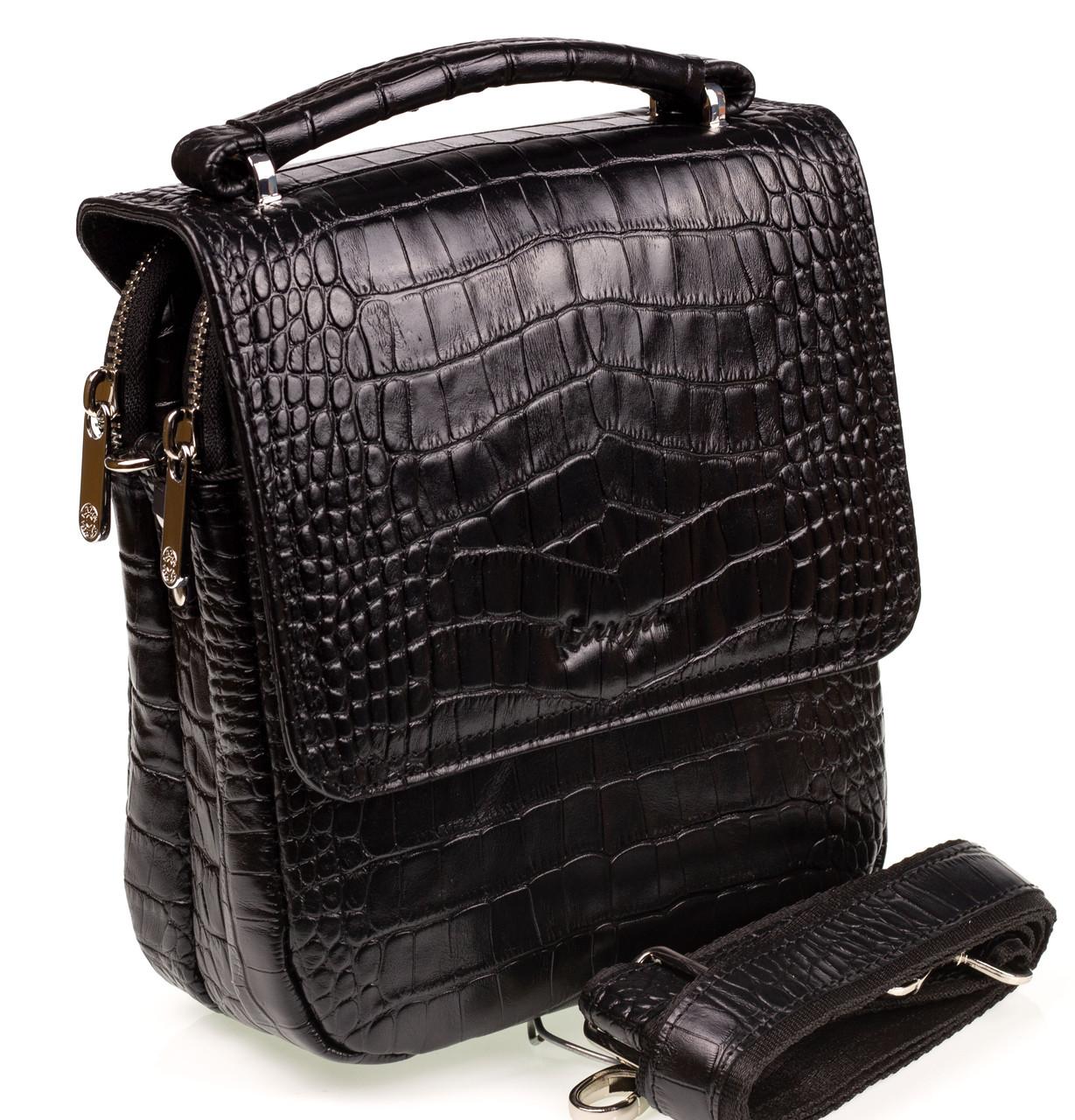 Мужская вертикальная сумка барсетка Karya 0795-53 кожаная черная