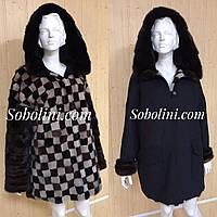 Шуба-пальто дабл фейс з норки, розмір 44-50