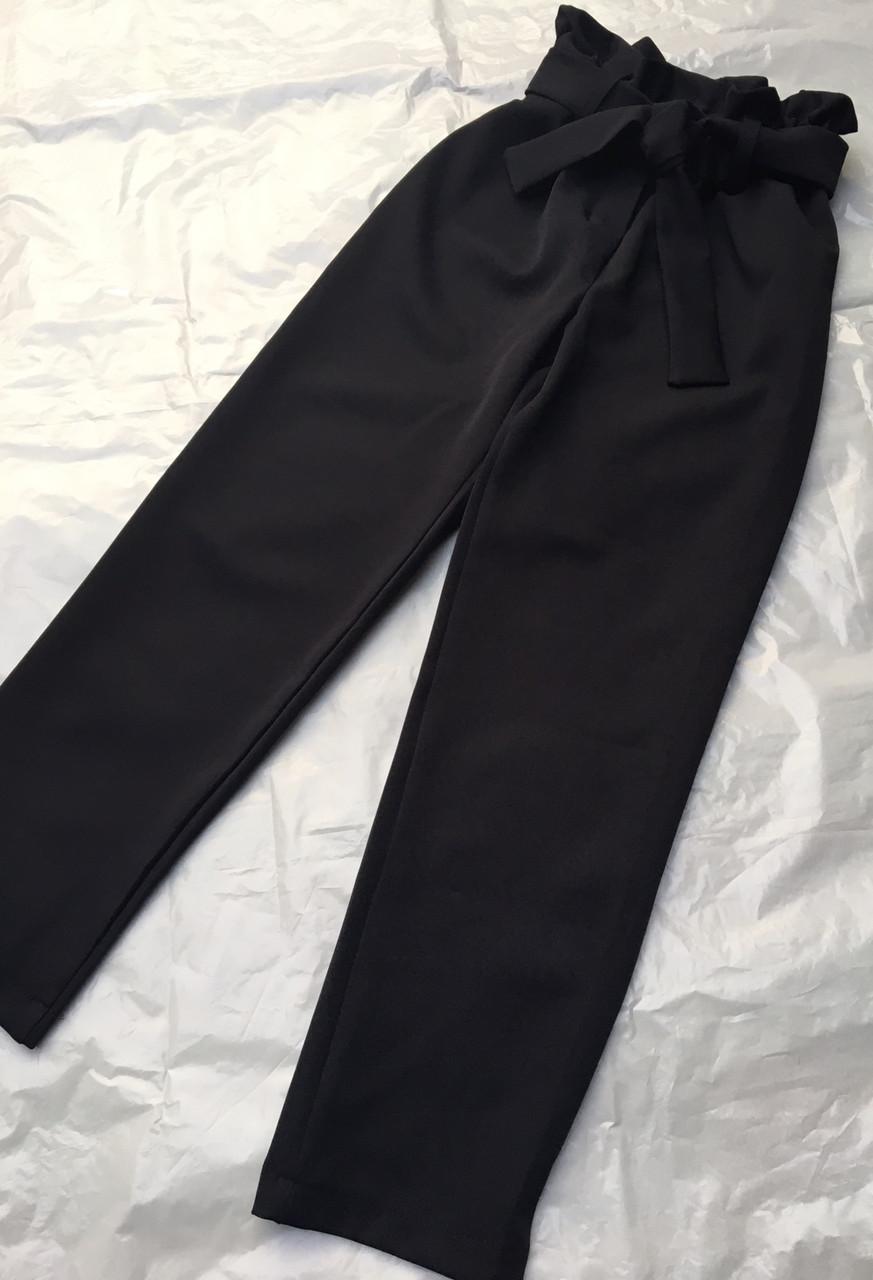 Детские брюки школьные, черные, с поясом, завышенная талия для девочки  134-158р.