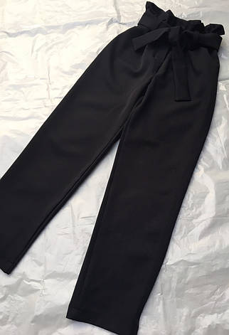 Детские брюки школьные, черные, с поясом, завышенная талия для девочки  134-158р., фото 2