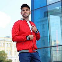 Куртка мужская бомбер. Ветровка мужская красного цвета