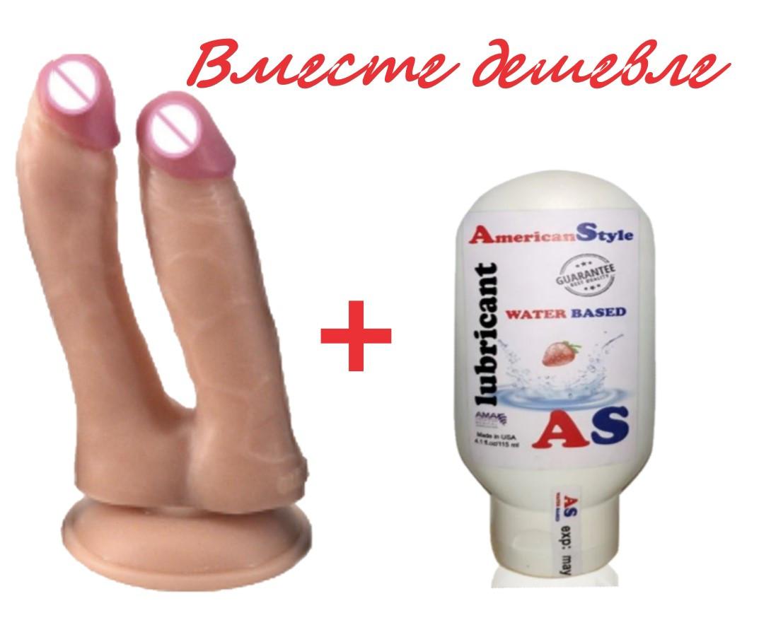 Фаллоимитатор на присоске реалистичный двойной анальный вагинальный с интимным гелем Клубника