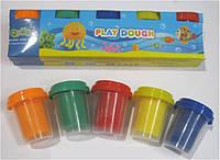 """Тесто 2063(2083) для лепки 5цветов х55г в баночках """"Play Dough"""""""