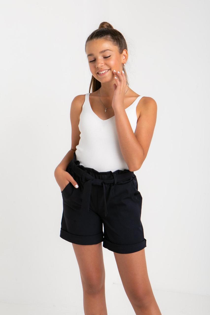 Детские шорты школьные черный, высокая талия, для девочки| 140-158р.