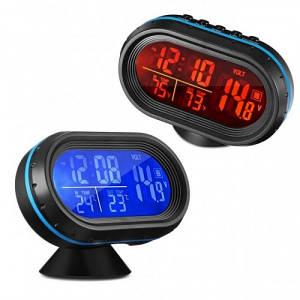 Часы 12-24V автомобильные VST 7009 с выносным датчиком температуры и вольтметром с индикацией заряда АКБ (2