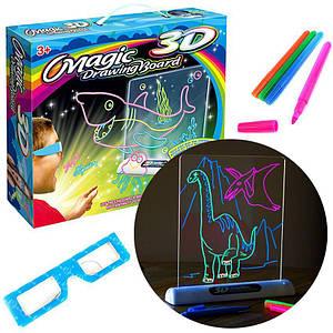 Электронная 3D доска для рисования Magic Drawing Board рисунки с подсветкой и 3D эффектом
