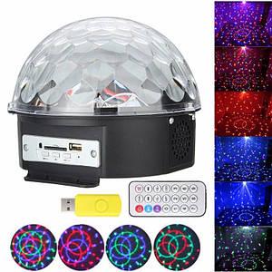 Світлодіодний LED диско куля Crystall з вбудованою колонкою світломузика з підсвічуванням + Пульт і Флешка