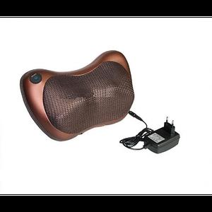 Подушка роликовий масажер для шиї, спини і ніг Massage Pillow від 12V і 220V (для будинку і машини) Коричнева