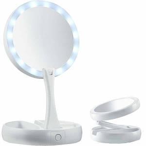 Зеркало светодиодное  с LED подсветкой для макияжа My Fold AWAY MIRROR раскладное круглое с увеличением