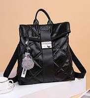 Городской рюкзак для девушек в школу стильный молодежный цвет черный бордовый