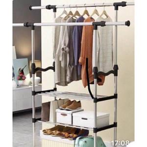 Телескопическая стойка вешалка для одежды с двумя полками для обуви 80/38/160 см