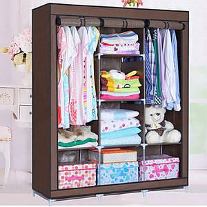Шкаф для вещей тканевый раскладной на три секции HCX (ART-88130) 130х45х175 см Коричневый