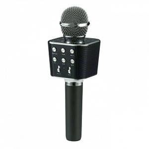 Микрофон караоке с USB, microSD, AUX, FM, Bluetooth со встроенной колонкой 6 Вт WSTER Black Original (WS-1688)