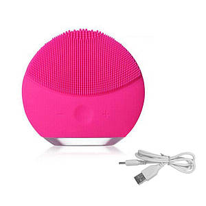 Силіконова акумуляторна щітка масажер для чищення особи FOREVER LINA mini Малинова (заряд від USB)