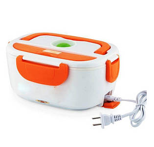 Термо Ланч бокс с подогревом от розетки 220В контейнер для разогрева еды Electric Lunch Box Бело-оранжевый