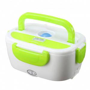 Термо Ланч бокс з підігрівом від розетки 220В контейнер для розігріву їжі Electric Lunch Box Біло-салатовий