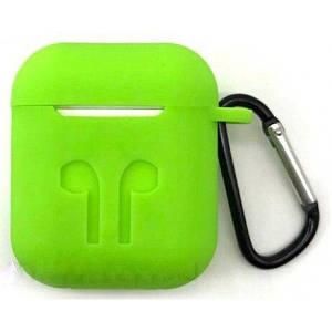 Чехол для AirPods силиконовый с карабином, Зеленый