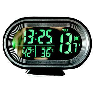 Автомобильный термометр вольтметр часы VST с выносным датчиком индикатора температуры и заряда аккумулятора