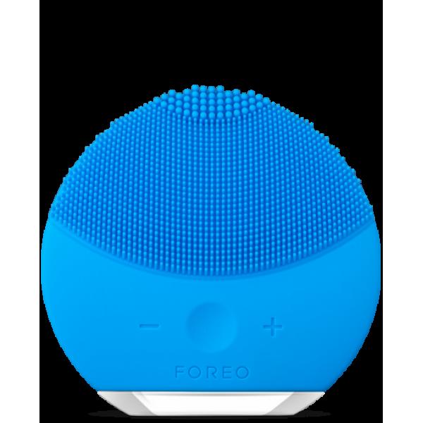 Силиконовая аккумуляторная щетка массажер для чистки лица FOREVER LINA mini Голубая (заряд от USB)