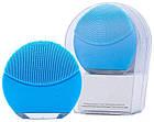Силиконовая аккумуляторная щетка массажер для чистки лица FOREVER LINA mini Голубая (заряд от USB), фото 2