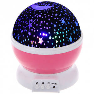 Ночник светильник Star Master проектор звездного неба светодиодный три режима работы 14.5 см Розовый