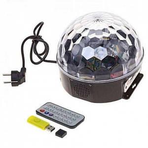 Диско куля Magic Ball світлодіодний чотири LED режиму світломузики з вбудованим Bluetooth колонкою пультом і