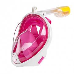 Повна панорамна маска для плавання снорклінга FREE BREATH ORIGINAL (L/XL) з кріпленням для екшн камери Рожева