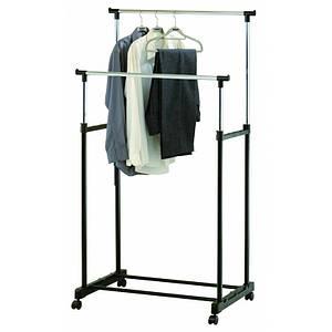 Двойная телескопическая вешалка на колесах Double Pole стойка для одежды напольная