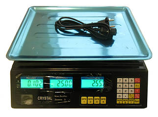 Ваги торгові електронні Crystal з акумулятором настільні до 50 кг