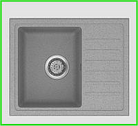Кухонная прямоугольная гранитная мойка Aqua GRAY 555/450/170