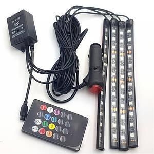 Автомобильная водонепроницаемая светодиодная RGB LED подсветка в салон на 4 ленты от прикуривателя с пультом