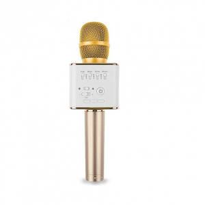 Детский беспроводной аккумуляторный караоке микрофон MicGeek с колонкой Bluetooth в чехле Золотой (Q9)