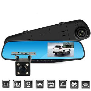 Автомобільне дзеркало відеореєстратор з камерою заднього виду DVR L-708 PRO ORIGINAL (2 камери) за розміткою