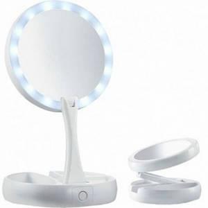 Настольное зеркало с LED подсветкой FOLD AWAY белый (45371)
