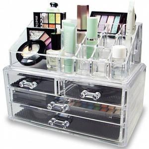 Настольный ящик органайзер для хранения косметики GUT Storage Box белый (46236)