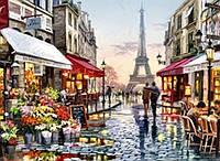 Картины по номерам Алмазная мозаика на подрамнике Парижская улочка 40*50, с принт. рамой