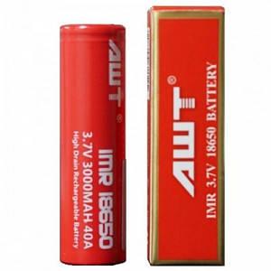 Высокотоковый аккумулятор AWT 18650 красный (45114)