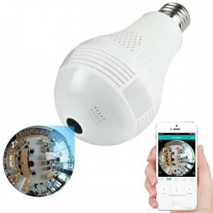 Камера видео наблюдения Панорамная IP лампочка (Рыбий глаз) SMART+DVR WI-FI H302 \ CAD-B13 White (IM 46433)
